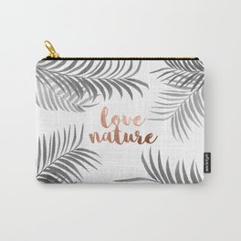 Silver Palm Leaves Carry-All Pouch