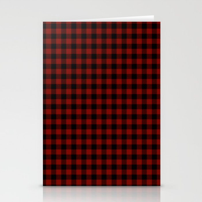 Vintage New England Shaker Barn Red Buffalo Check Plaid Stationery Cards