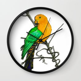One King Parrot - Yellow Wall Clock