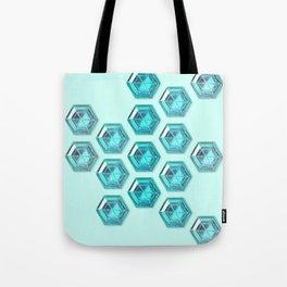Cyan Gradient Hexagon Gemstones Tote Bag