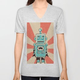 Retro Robot Unisex V-Neck