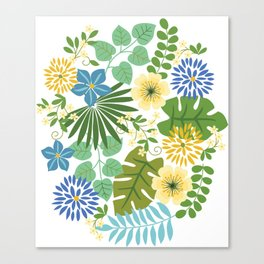 Tropical Blue anYellow Floral Canvas Print