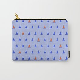 Blue and Orange Sailboat Micro-Print Repeating Pattern Wallpaper  Carry-All Pouch