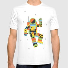 Hello Spaceman White MEDIUM Mens Fitted Tee