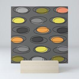 Mid Century Modern Ovals Scribbles Slate Gray Mini Art Print