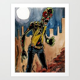 zombie in the ruins Art Print