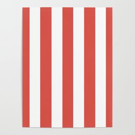 Lychee red - solid color - white vertical lines pattern Poster