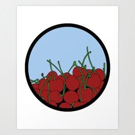 Cherries in a Bowl (Black Ring) Art Print