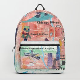 Chicago Illinois USA Illustrated Map with Main Roads Landmarks and Highlights Backpack