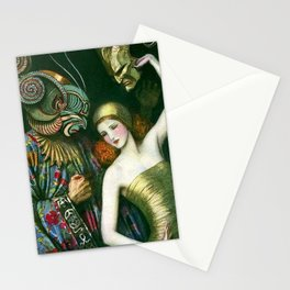Carnival of Venice Masquerade Art Deco Masked figure & Woman with bauta mask painting by W.T. Benda Stationery Cards