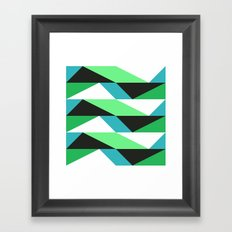 Turquoise, black & green triangles pattern Framed Art Print