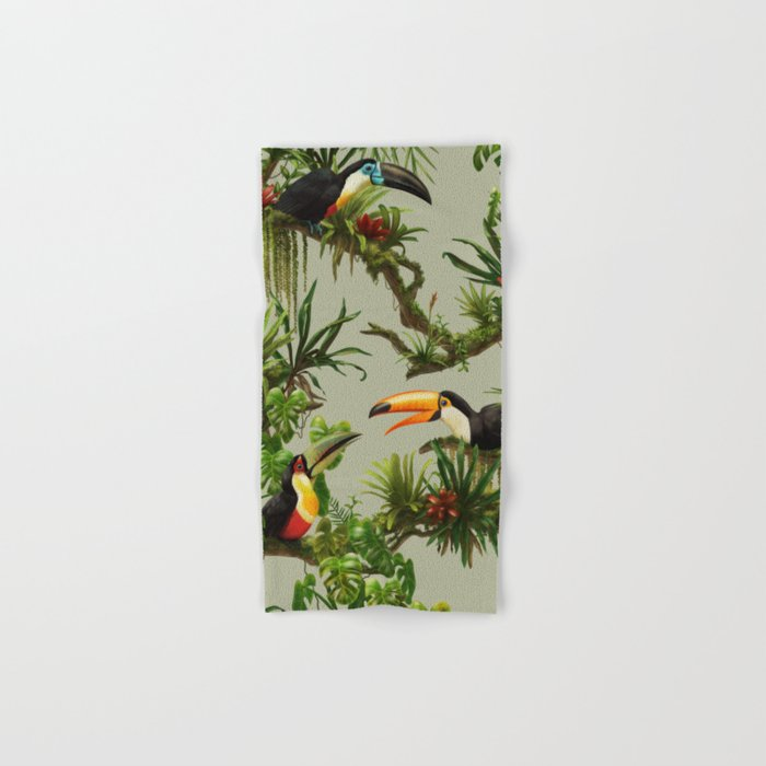 Toucans and Bromeliads (Canvas Background) Hand & Bath Towel