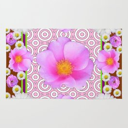 Floral Abundance Brown Shasta Daisy Pink Roses Abstract Art Rug