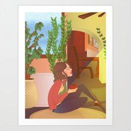 woman relaxing at home Art Print