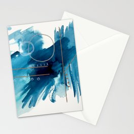Beneath the Waves Series 2 - a blue and gold abstract mixed media set Stationery Cards