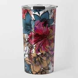 Tropical pattern with hibiscus flowers. Hawaii style watercolor Travel Mug