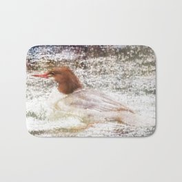 Merganser Fishing in the Rain Bath Mat