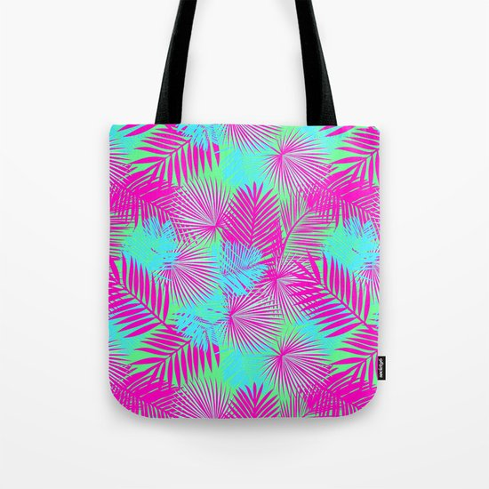 Neon Pink & Blue Tropical Print Tote Bag