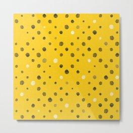 LOTS OF DOTS / deep yellow / black / white / walnut brown Metal Print