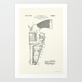 Photographic attachment for firearms Patent BW - Circa 1934 Art Print