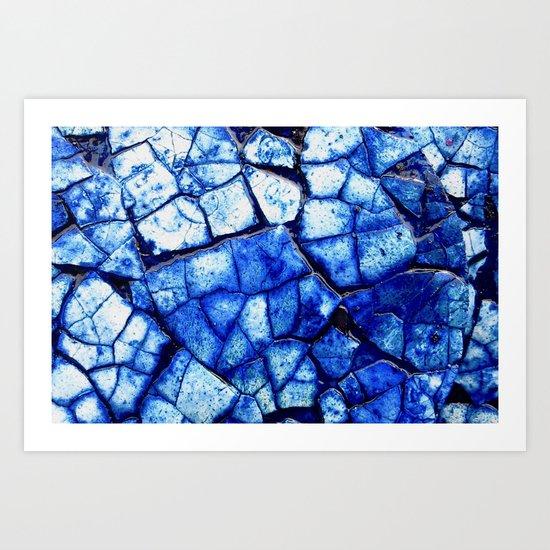 BLUE STONE CRACKS Art Print