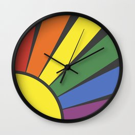 Rainbow sun rays Wall Clock