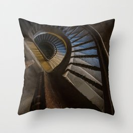 Abandoned Wooden Staircase Throw Pillow