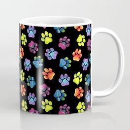 Black Rainbow Paw Print Pattern Coffee Mug