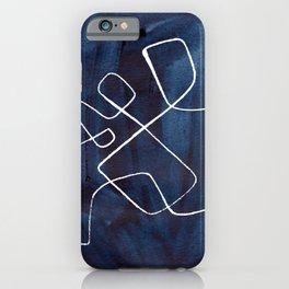 Minimalist Minimal Line Drawing Maze Dark Navy Blue Painting Mid Century Modern Cool Funky Trendy iPhone Case
