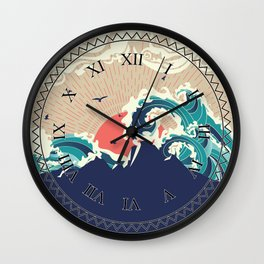 Abstract big waves of ocean and island at sunset landscape Wall Clock