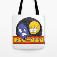 pac man Tote Bags featuring pac-man by Jung Imjen