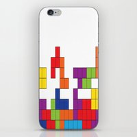 tetris iPhone & iPod Skins featuring Tetris by Jennifer Agu