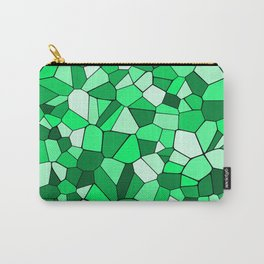 Monochrome Green Mosaic Pattern Carry-All Pouch