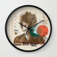 dylan Wall Clocks featuring Bob Dylan by Azlif