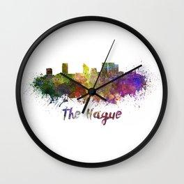 The Hague skyline in watercolor Wall Clock