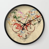 brompton Wall Clocks featuring I Love My Bike by Wyatt Design