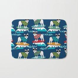 French Bulldog surfing pattern Bath Mat