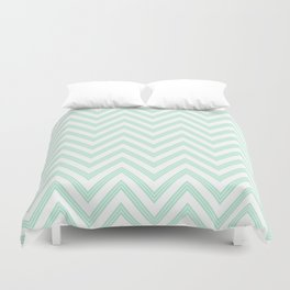 Chevron ZigZag Herringbone pattern - Mint light green I #Society6 Duvet Cover