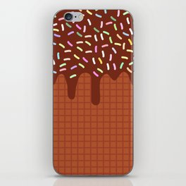 chocolate waffles with flowing chocolate sauce and sprinkles iPhone Skin