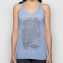 Vintage Map of Jersey City and Hoboken (1886) Unisex Tanktop