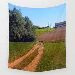 Trees, meadows, pathway to the village | landscape photography Wall Tapestry