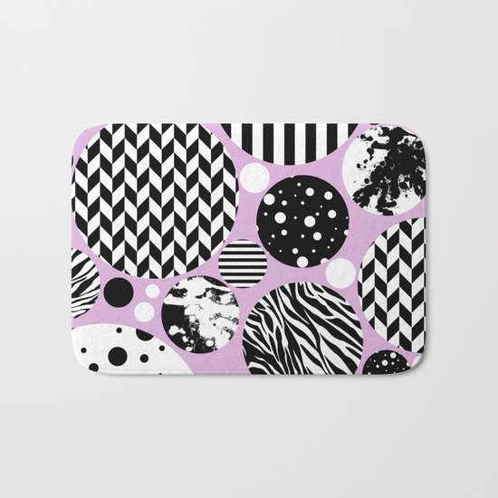 Eclectic Black And White Circles On Pastel Pink Bath Mat