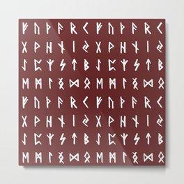 Nordic Runes // Monarch Red Metal Print