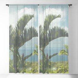 Garden of Eden Tropical Paradise Puohokamoa Maui Hawaii Sheer Curtain