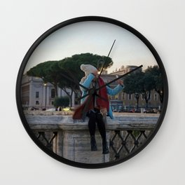 Selfie in Rome Wall Clock