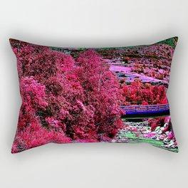 Alien landscape indigo red surrealist night in the mountain Rectangular Pillow