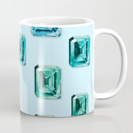 Emerald-cut Gemstones Pattern | Seafoam Coffee Mug