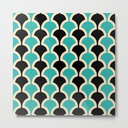 Classic Fan or Scallop Pattern 442 Black and Turquoise Metal Print