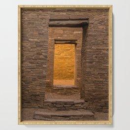 Chaco Canyon - Pueblo Bonito Doorways - New Mexico Serving Tray
