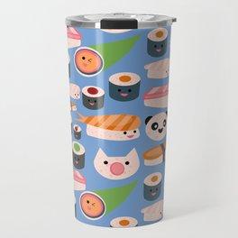 Kawaii sushi blue Travel Mug